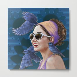 Blue Mountain Birds, portrait of Amy Metal Print
