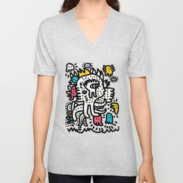 Graffiti King with Funk Flashy Colored Ghost Unisex V-Neck