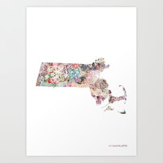Massachusetts map Art Print