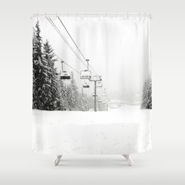 Lifts waiting for action in the snow Shower Curtain