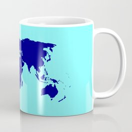World Silhouette In Blue Coffee Mug