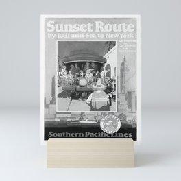 retro monochrome Sunset Route vintage poster Mini Art Print