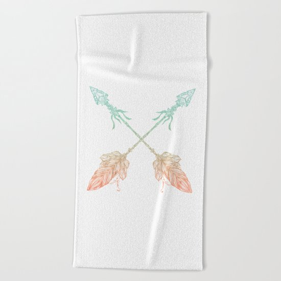 Arrows Turquoise Coral on White Beach Towel