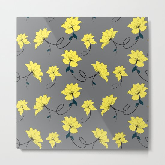 Yellow Flowers on Gray/Grey background, floral pattern Metal Print