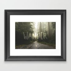 Forest Fog WANDER Travel - Redwood National Park Trees in California Wall Tapestry Framed Art Print