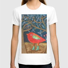 Red Bird in Galoshes T-shirt
