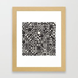 Black and White Irregular Geometric Pattern Print Design Framed Art Print