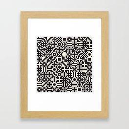 Black and White Irregular Geometric Pattern Print Design Framed Art Print