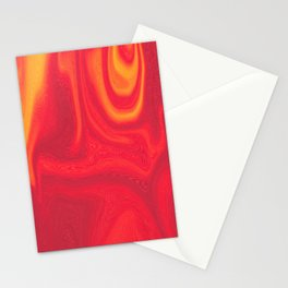 Red and Yellow Liquid Marble Swirling Pattern Texture Artwork #5 Stationery Cards
