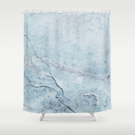 Light Blue Marble Shower Curtain