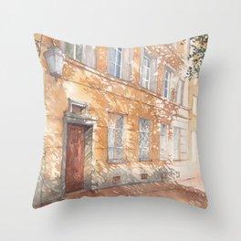 Sunny street watercolor illustration Throw Pillow