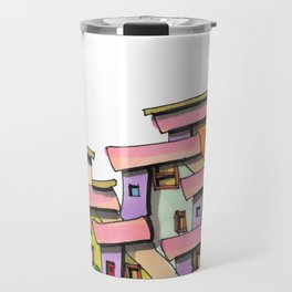 Funky Colors House With Car 69 Travel Mug