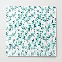 soft teal and blue leaves Metal Print