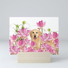 Labrador Retrievers with Lotos Flower Mini Art Print