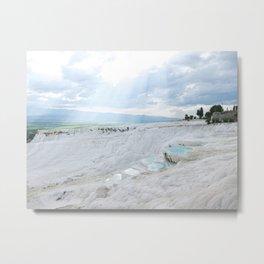 Hot Springs | Ancient Roman Baths Travertine Teal Water Mountain Landscape Photograph Majestic Sky Metal Print