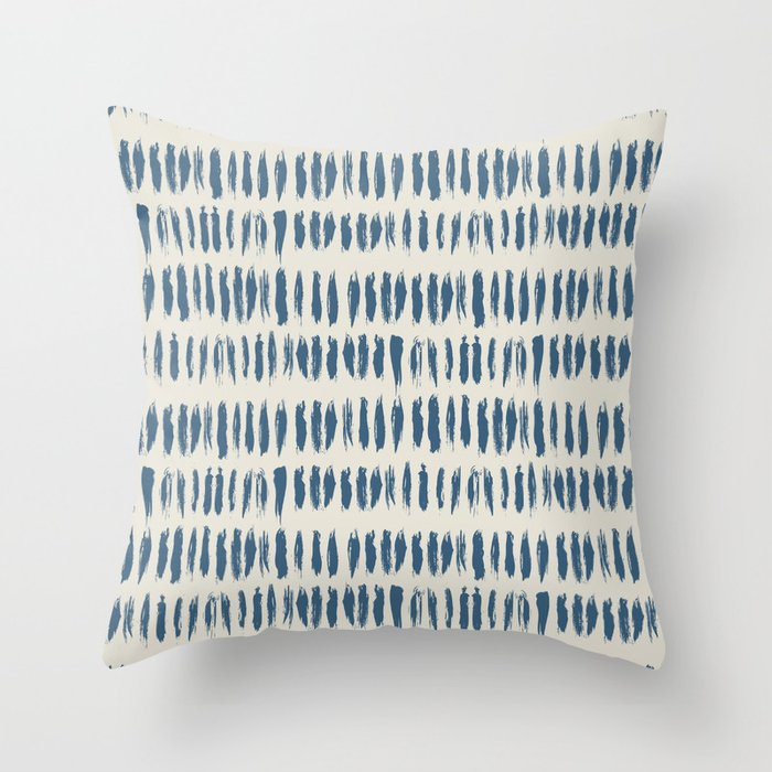 Blue & Linen White Bold Grunge Vertical Stripe Dash Line Pattern Pairs To 2020 Color of the Year Throw Pillow