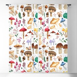 Watercolor forest mushroom illustration and plants Blackout Curtain