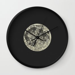 Telescopic View of the Moon | Vintage Astronomy Illustration Wall Clock