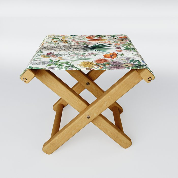 Adolphe Millot - Fleurs B - French vintage poster Folding Stool