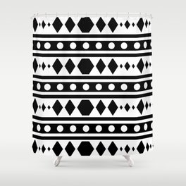 Black Tribal Pattern Shower Curtain