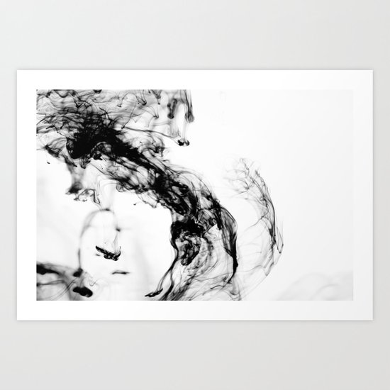 MONOCHROME MARBLE / INDIAN INK IN WATER Art Print