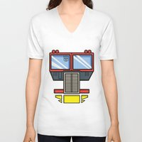 optimus prime V-neck T-shirts featuring Transformers - Optimus Prime by CaptainLaserBeam