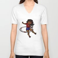 rockabilly V-neck T-shirts featuring Rockabilly Hula Hoop Girl by roryseviltwin