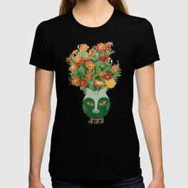Marigolds in cat face vase  T-shirt