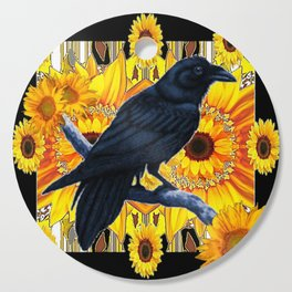 GRAPHIC BLACK CROW & YELLOW SUNFLOWERS ABSTRACT Cutting Board