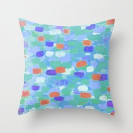Blue & Orange Confetti Throw Pillow