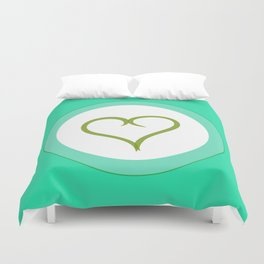 Green Heart with Love Duvet Cover