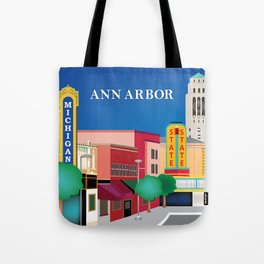 Ann Arbor, Michigan - Skyline Illustration by Loose Petals Tote Bag
