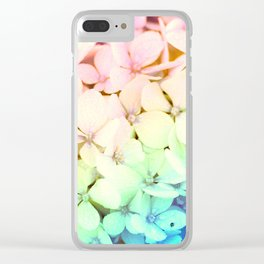 Pastel Rainbow Flowers Clear iPhone Case