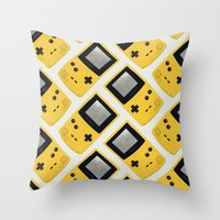 gameboy Throw Pillows featuring Gameboy Color: Yellow (Pattern) by Zeke Tucker