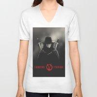vendetta V-neck T-shirts featuring V for Vendetta (e2) by Ezgi Kaya