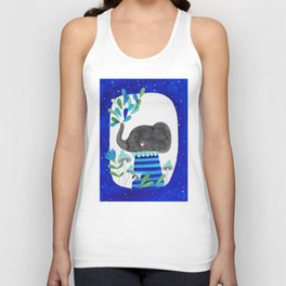 elephant with raindrops in blue watercolor illustration Unisex Tank Top