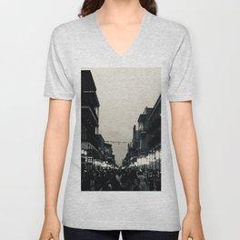Black & White Bourbon Street Unisex V-Neck