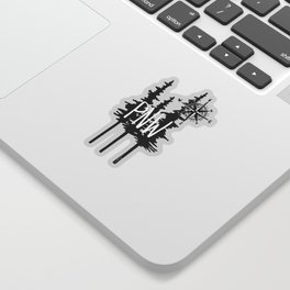 PNW Trees & Compass Sticker