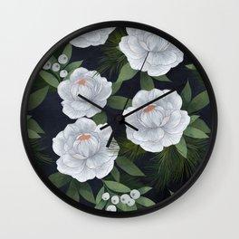 winter rose // repeat pattern Wall Clock
