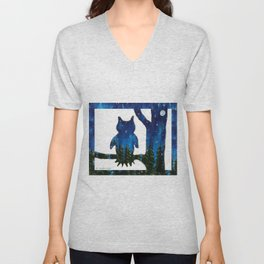 Owl Silhouette with Night Forest Unisex V-Neck