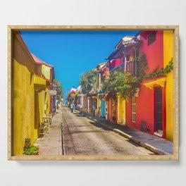 Traditional Street in Cartagena de Indias, Colombia Serving Tray