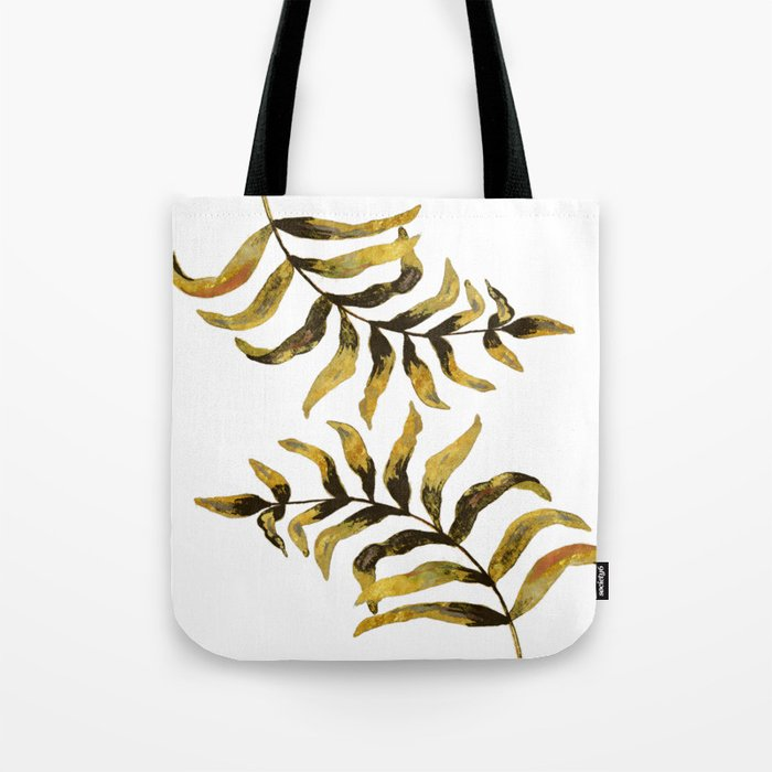 Gold Exotic Palm Leaves - Tropical Design Tote Bag
