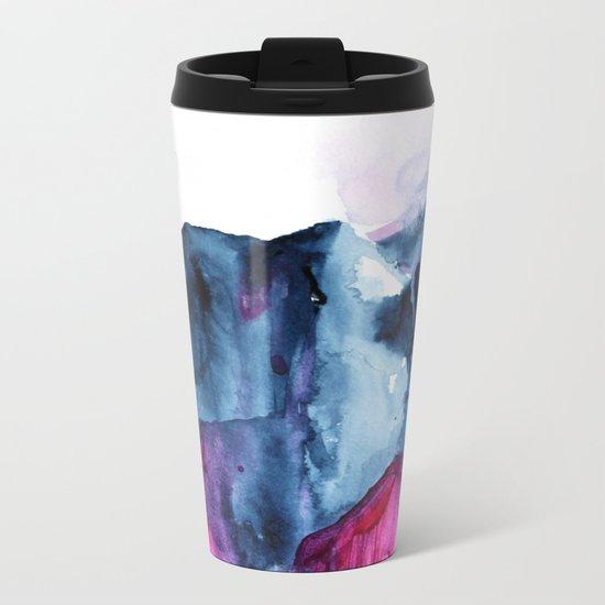 Abstract Indigo Mountains 2 Metal Travel Mug