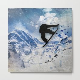 Snowboarder In Flight Metal Print