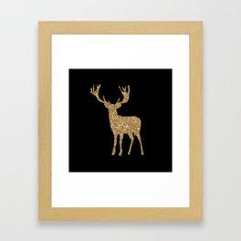 Sparkling golden deer - Wild Animal Animals Framed Art Print