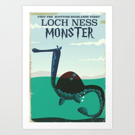 Loch Ness Monster vintage 'children's book' travel poster Art Print
