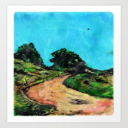 Dirt Road ( with U.F.O.) Art Print
