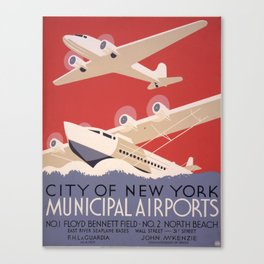City of New York Municipal Airports - Vintage New York Travel Poster Canvas Print