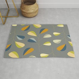 Mid Century Modern Graphic Leaves Pattern 3. dark grey Rug