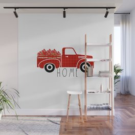 Black and White Buffalo Check Gingham Plaid pattern Truck with Apples & Word HOME Wall Mural
